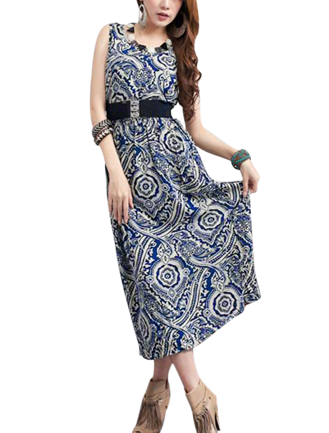 Lady Casual Sleeveless Novelty Prints Mid Calf Unlined Dress w Belt Blue M