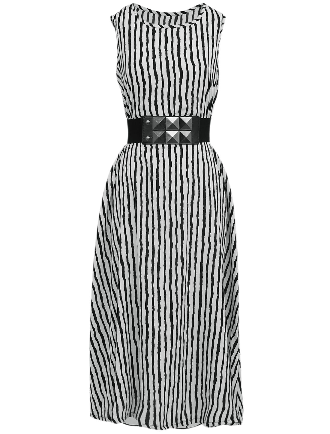 Lady Casual Sleeveless Stripes Mid Calf Unlined Dress w Belt Black White M