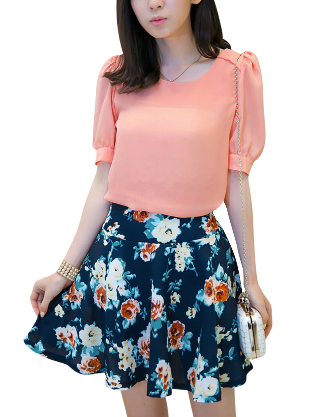 Lady Floral Prints Navy Blue Skirt w Half Puff Sleeve Salmon Top M