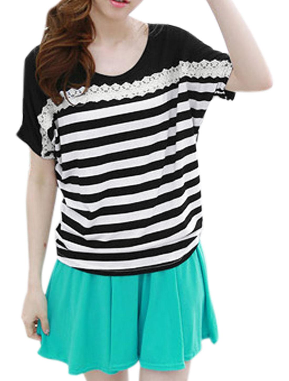 Ladies Short Batwing Sleeve Stripes Lace Decor Loose Fit Blouse Black XS