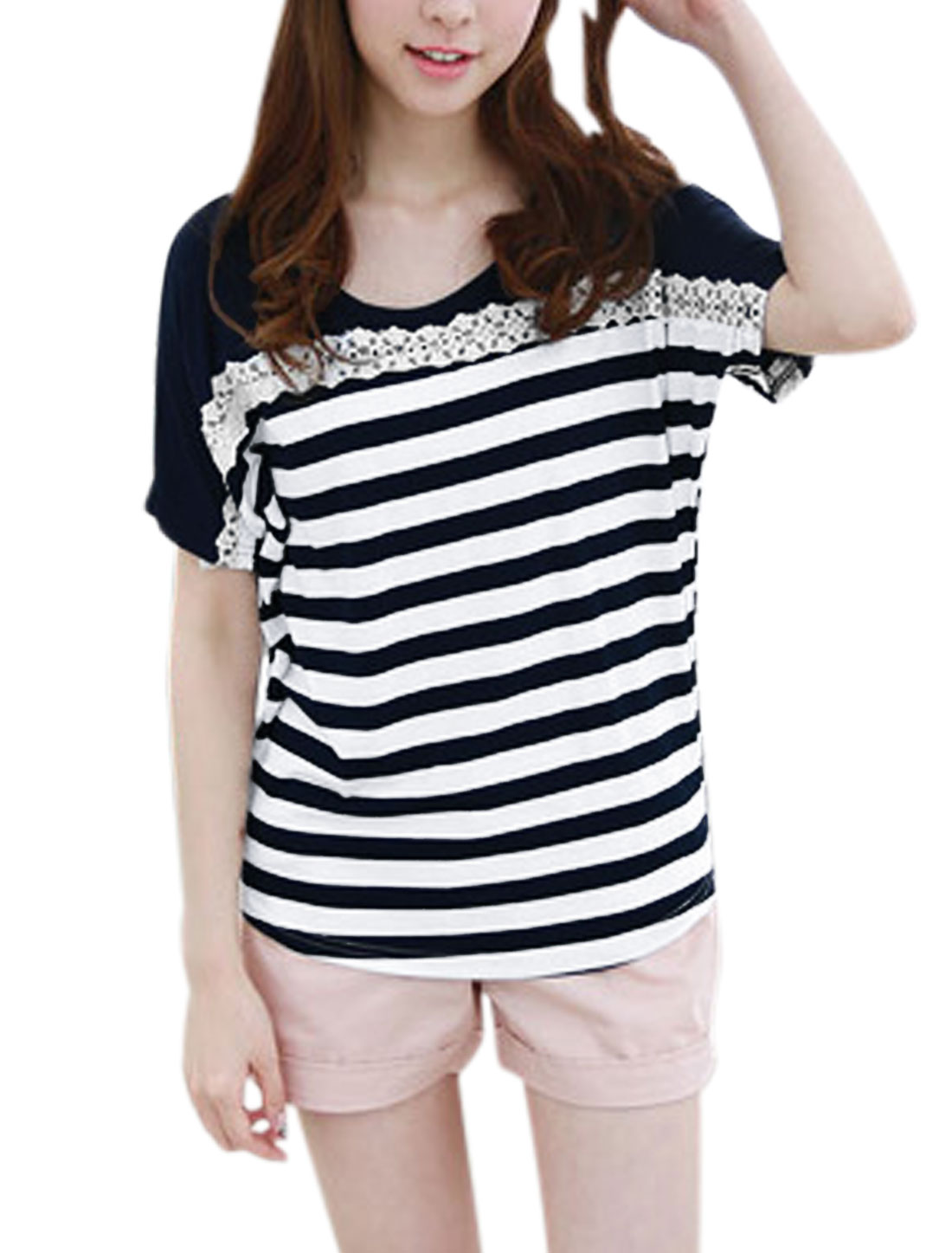 Ladies Batwing Design Stripes Pattern Loose Fit Blouse Navy Blue XS