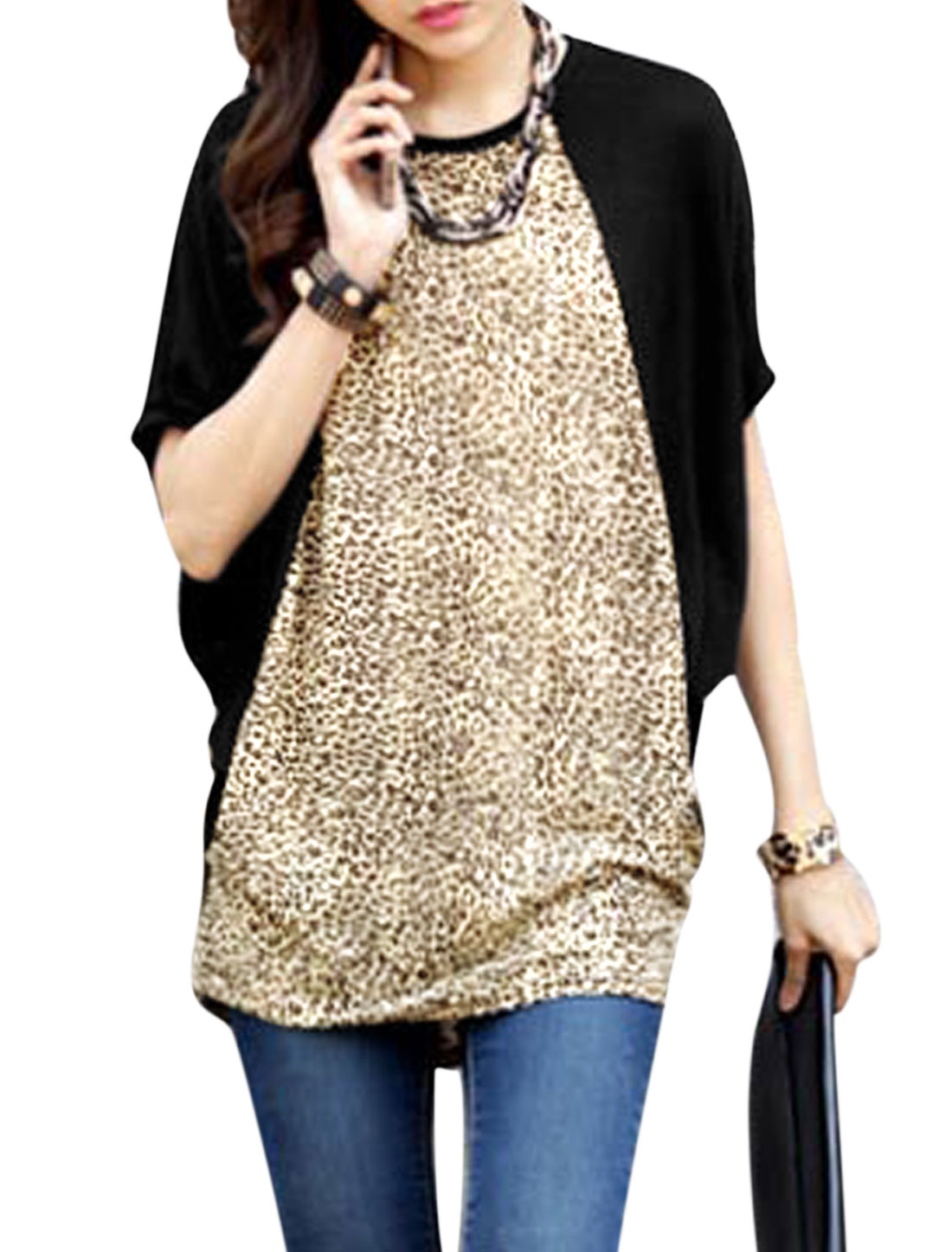 Lady Short Batwing Sleeve Leopard Prints Loose Fit Tunic Top Black Brown S