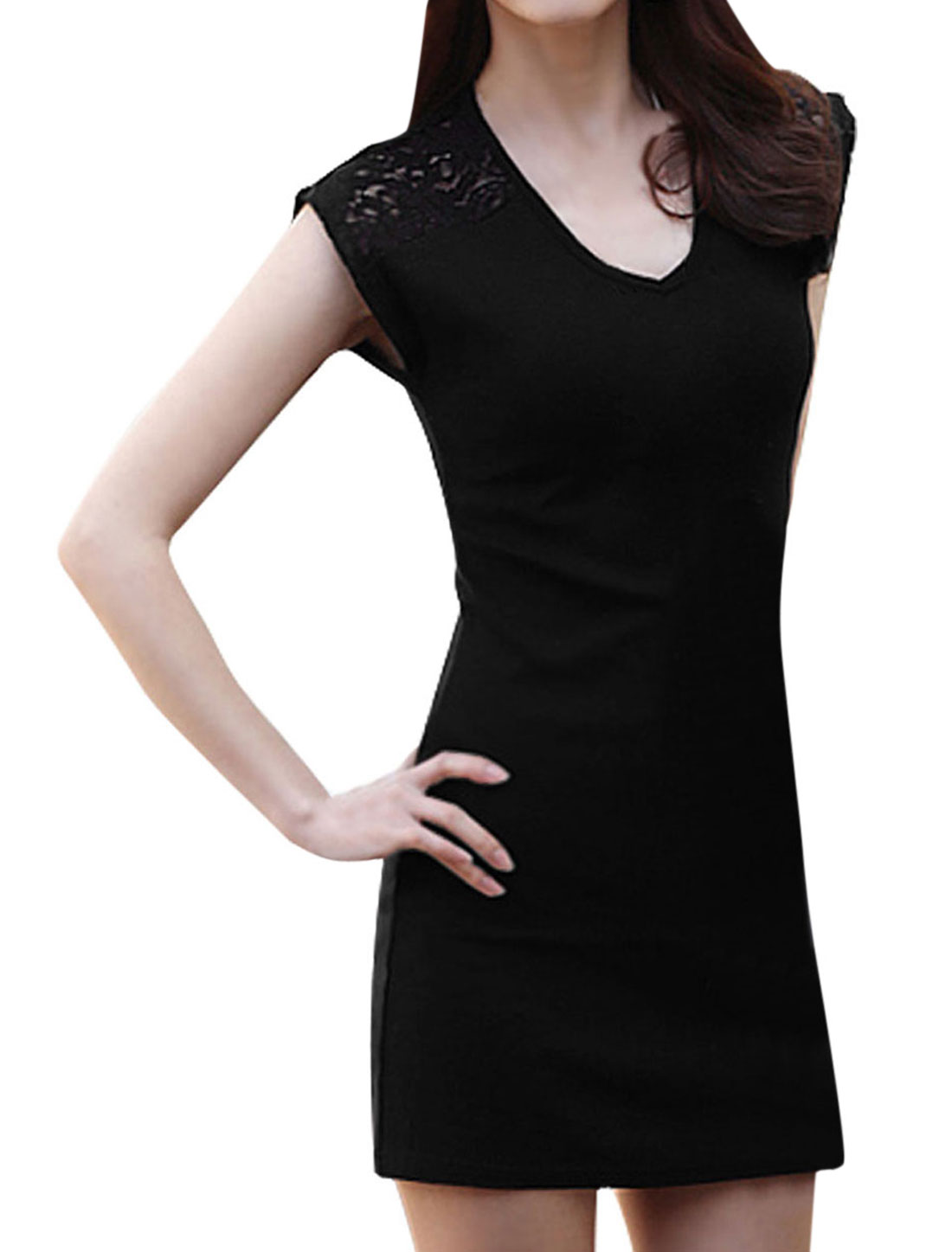 Ladies Cool Lace Panel Semi Sheer Detail Sheathy Dress Black M