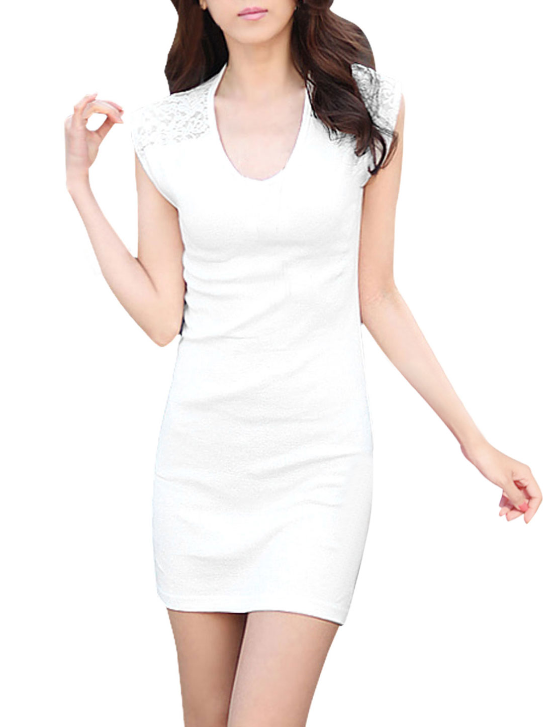 Ladies Cool Lace Panel See Through Slipover Sheathy Dress White M