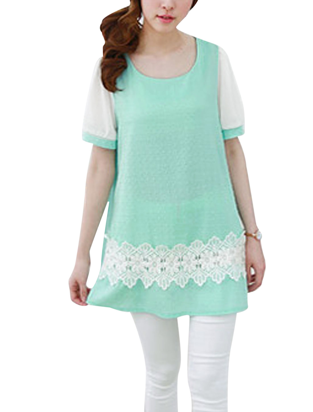 Lady NEW Studs Design Flower Crochet Panel Tunic Top Mint S
