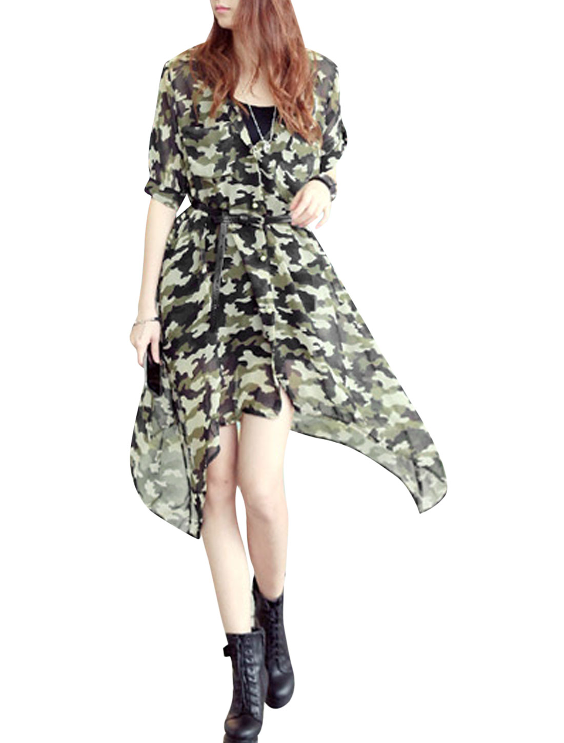 Lady Camouflage Prints Irregular Hem Chiffon Cardigan w Belt Dark Green XS