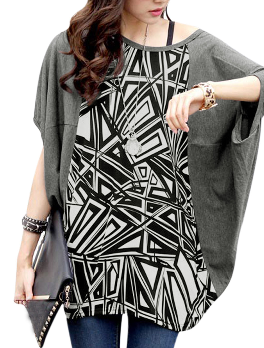 Women Summer Geometric Prints Loose Fit Tunic T-Shirt Dark Gray S