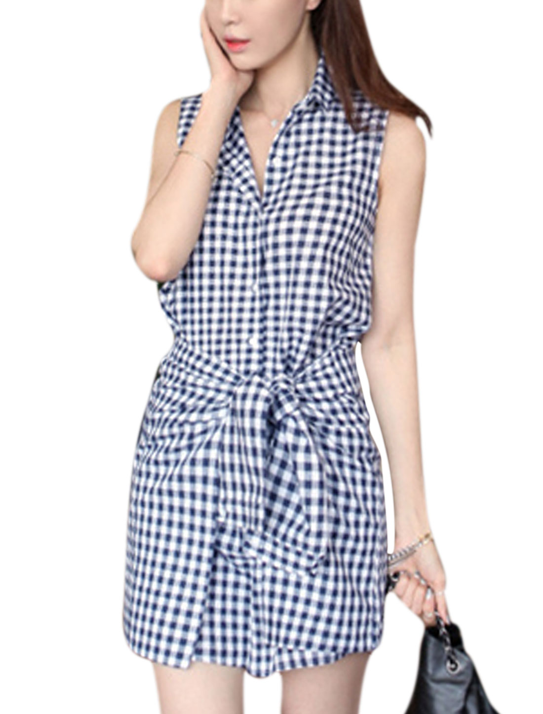 Lady Single Breasted Self Tie Strap Waist Plaids Shirt Dress Blue White S