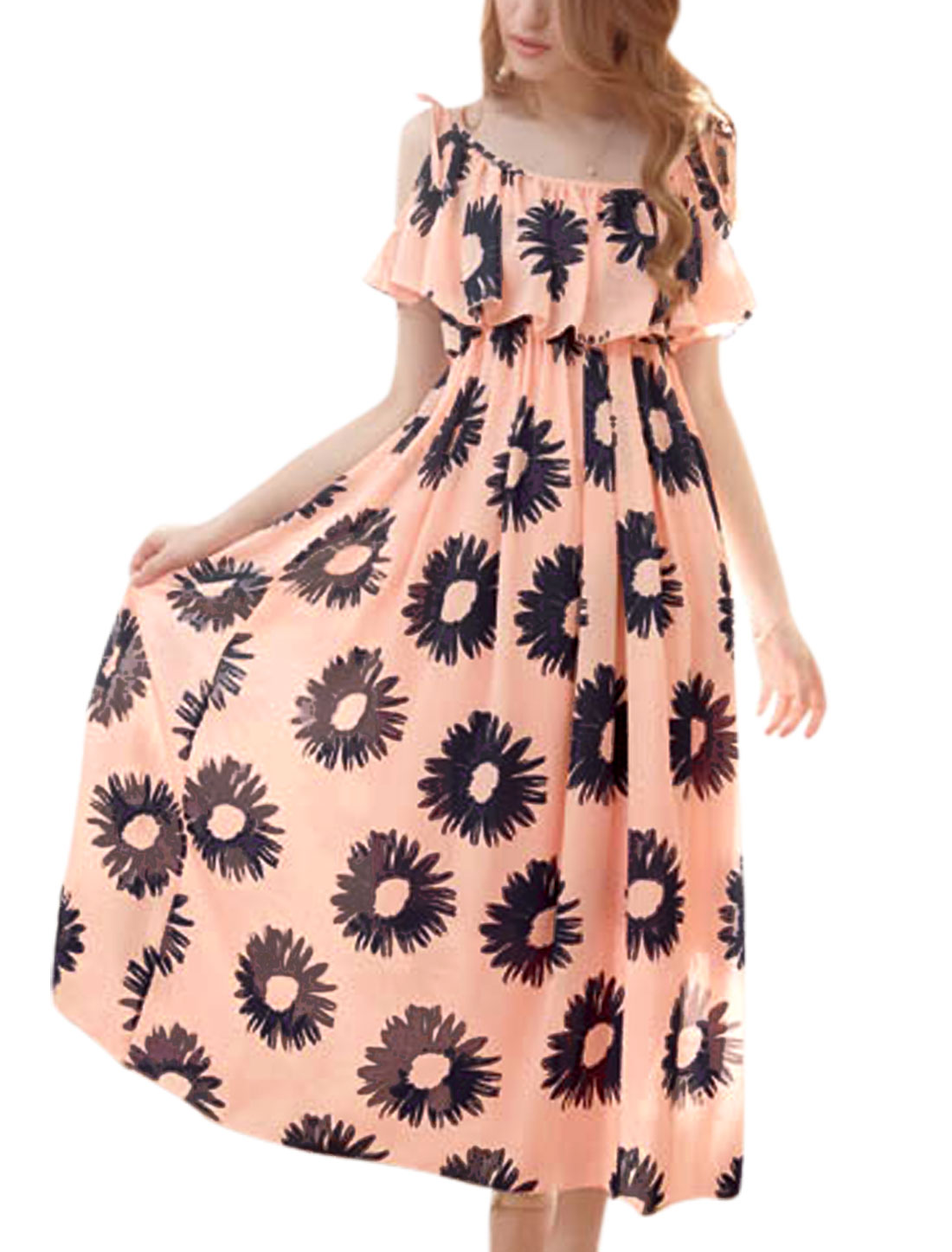 Ladies Adjustable Spaghetti Straps Sunflower Pattern Chiffon Dress Coral Pink M