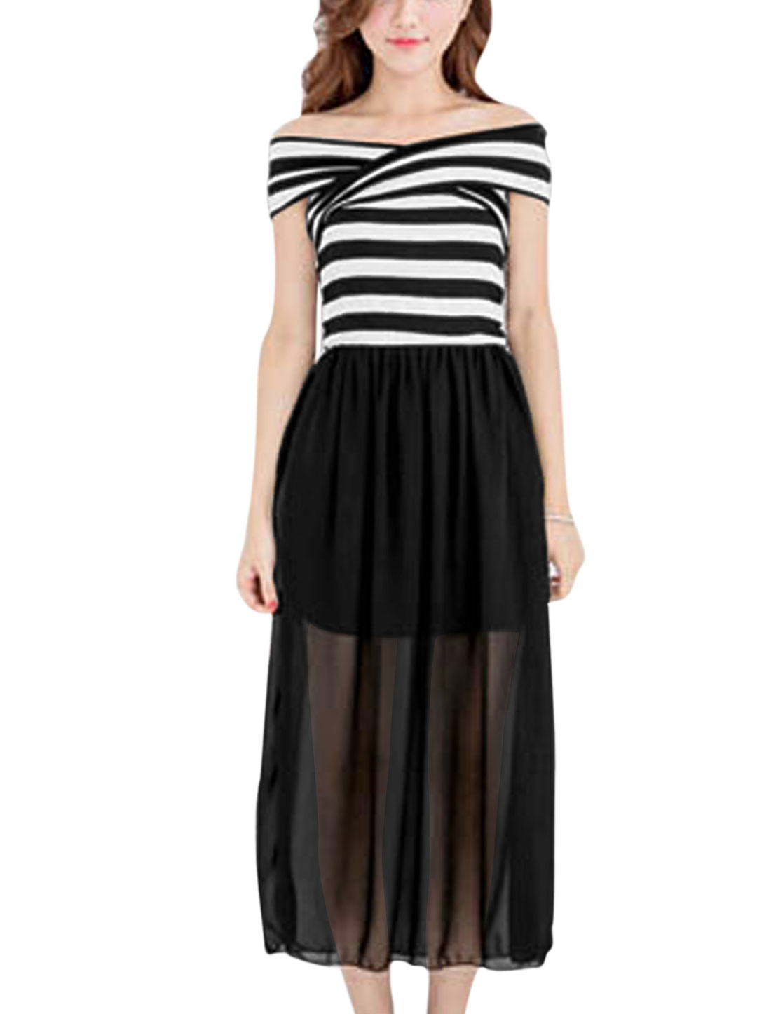 Lady Crossover Design Off Shoulder Chiffon Patched Stripes Dress Black White XS