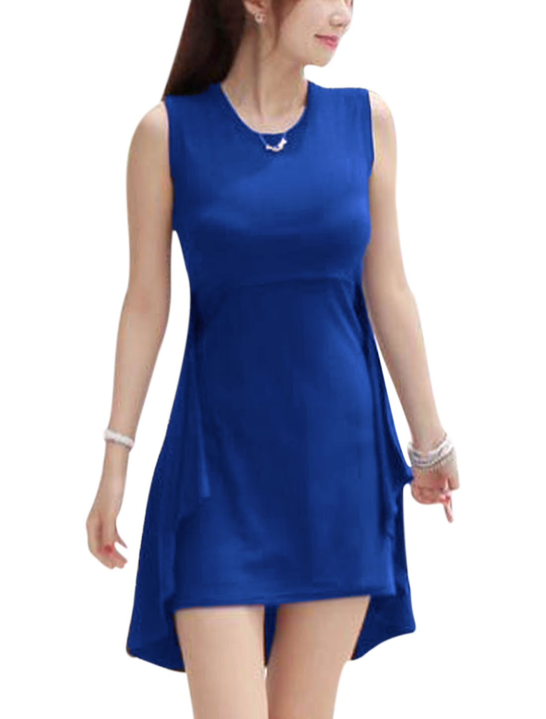 Ladies Sleeveless Layered Design Panel Embellished Tank Dress Royal Blue S