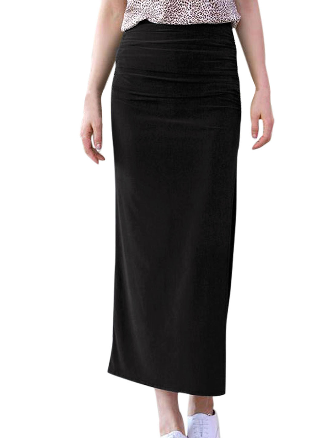 Lady Elastic Waist Split Side Ruched Side Straight Skirt Black XS
