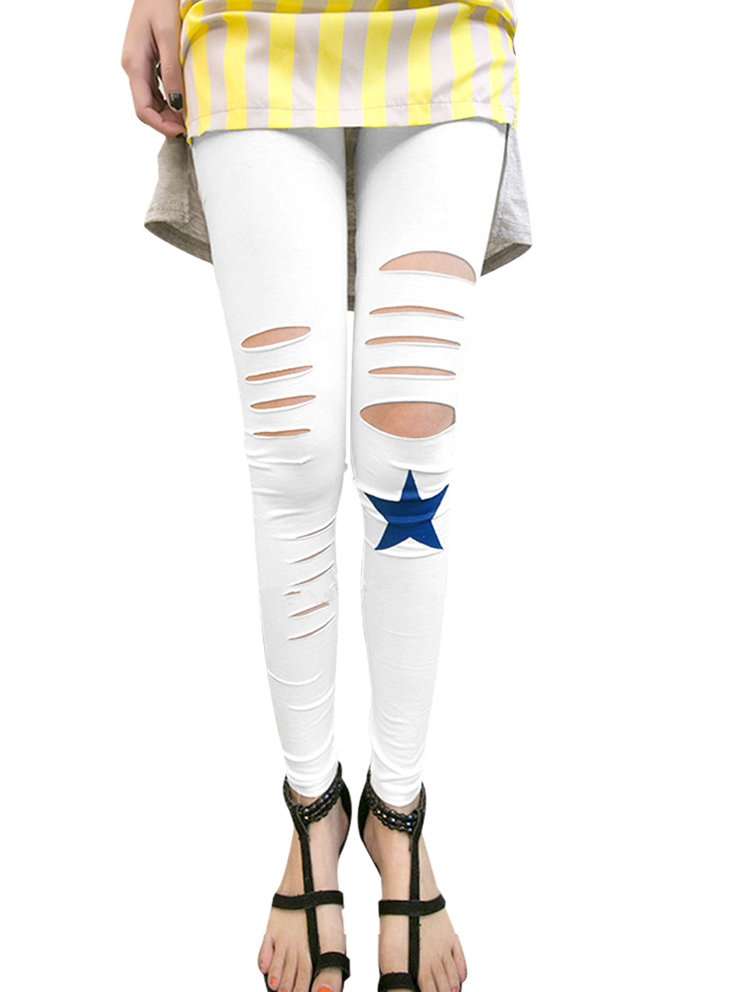 Lady Elastic Waist Star Prints Destroyed Style Slim Fit Leggings White XS