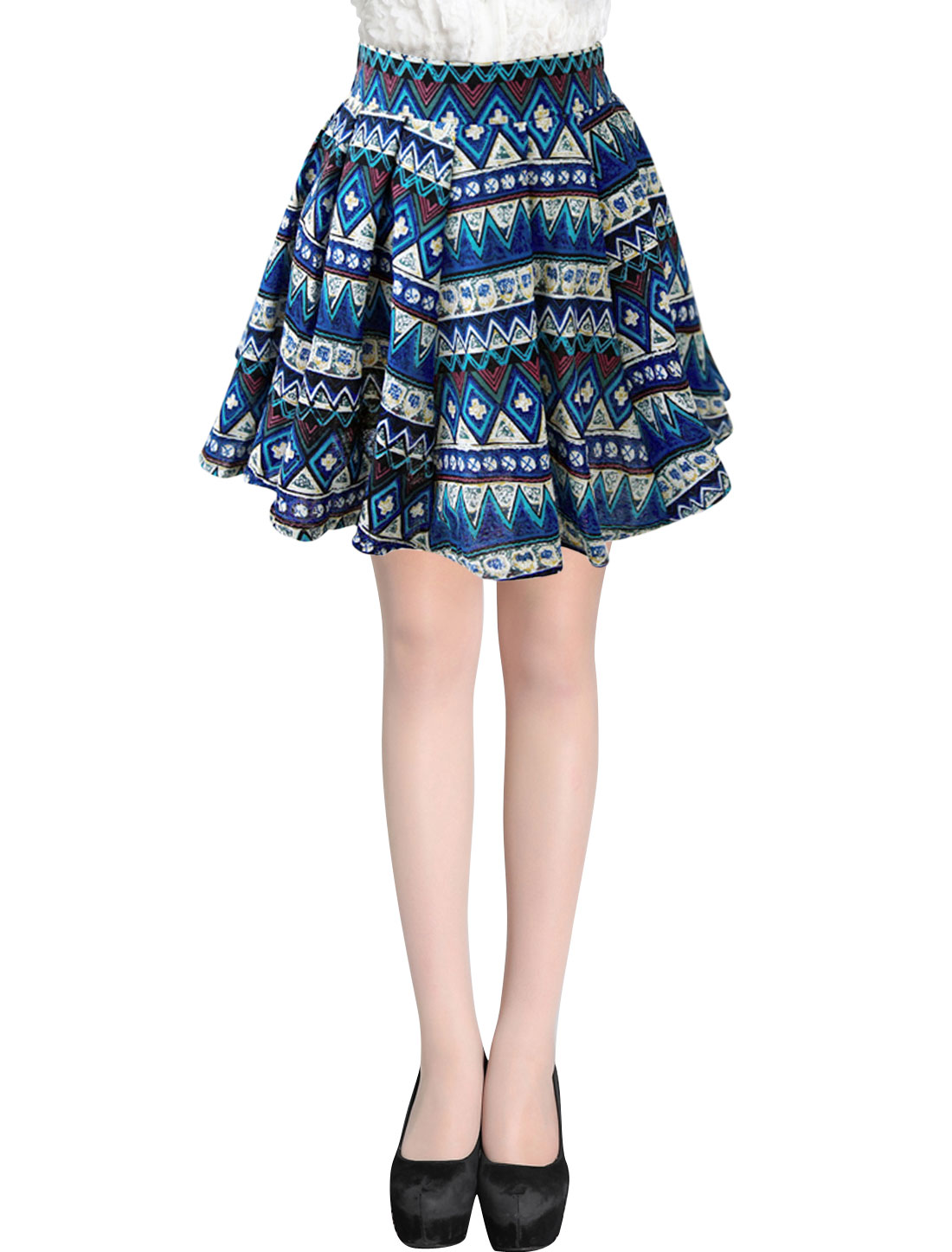 Lady Elastic Waist Geometric Prints Lining Pleated Skirt Blue XS