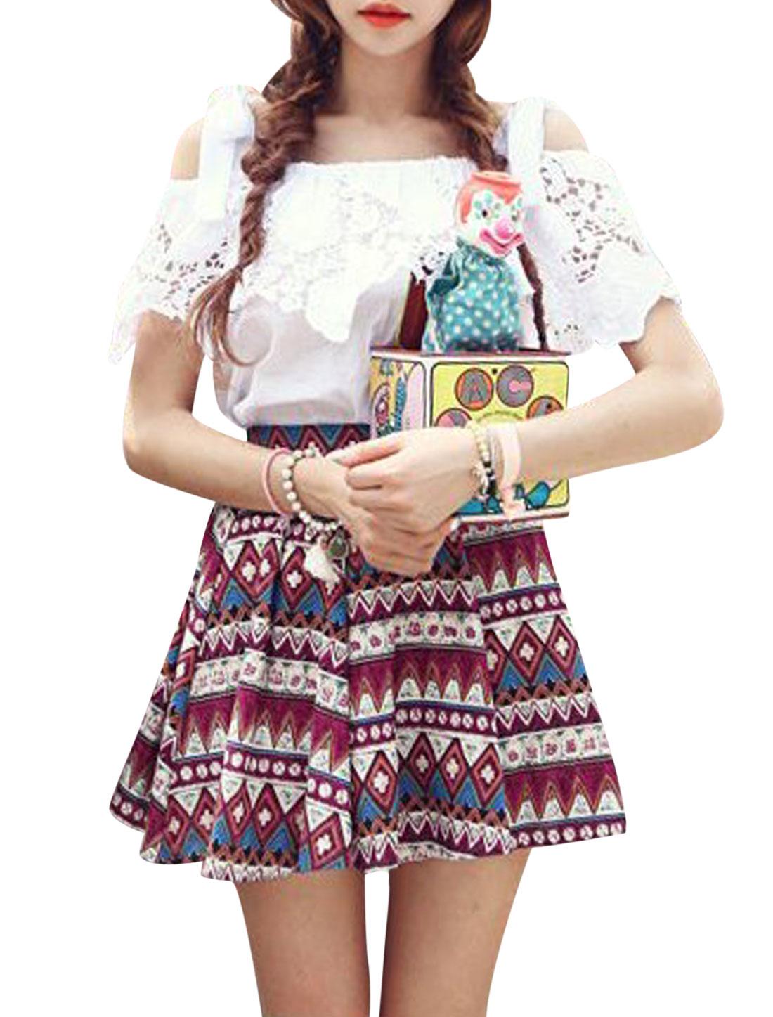 Lady Elastic Waist Geometric Prints Fully Lined Skirt Burgundy XS