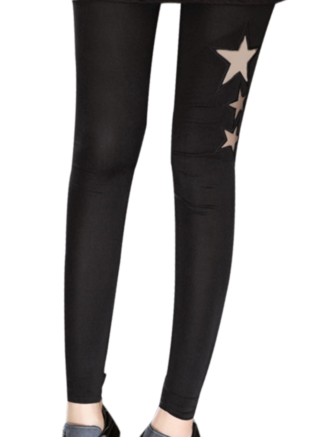 Lady Elastic Waist Mesh Panel Star Embroidery Cropped Leggings Black XS