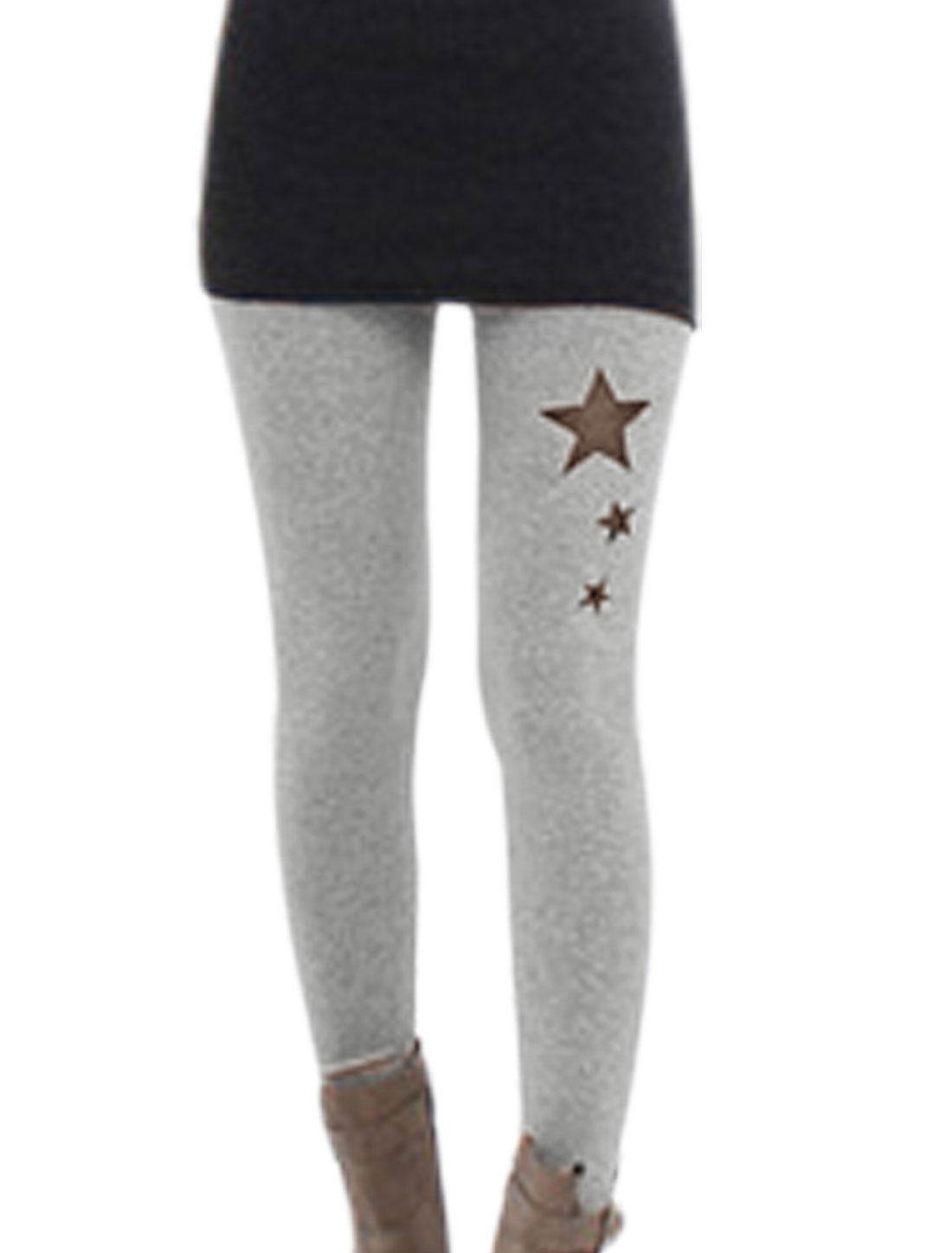 Lady Slim Fit Mesh Panel Star Embroidery Cropped Leggings Gray XS