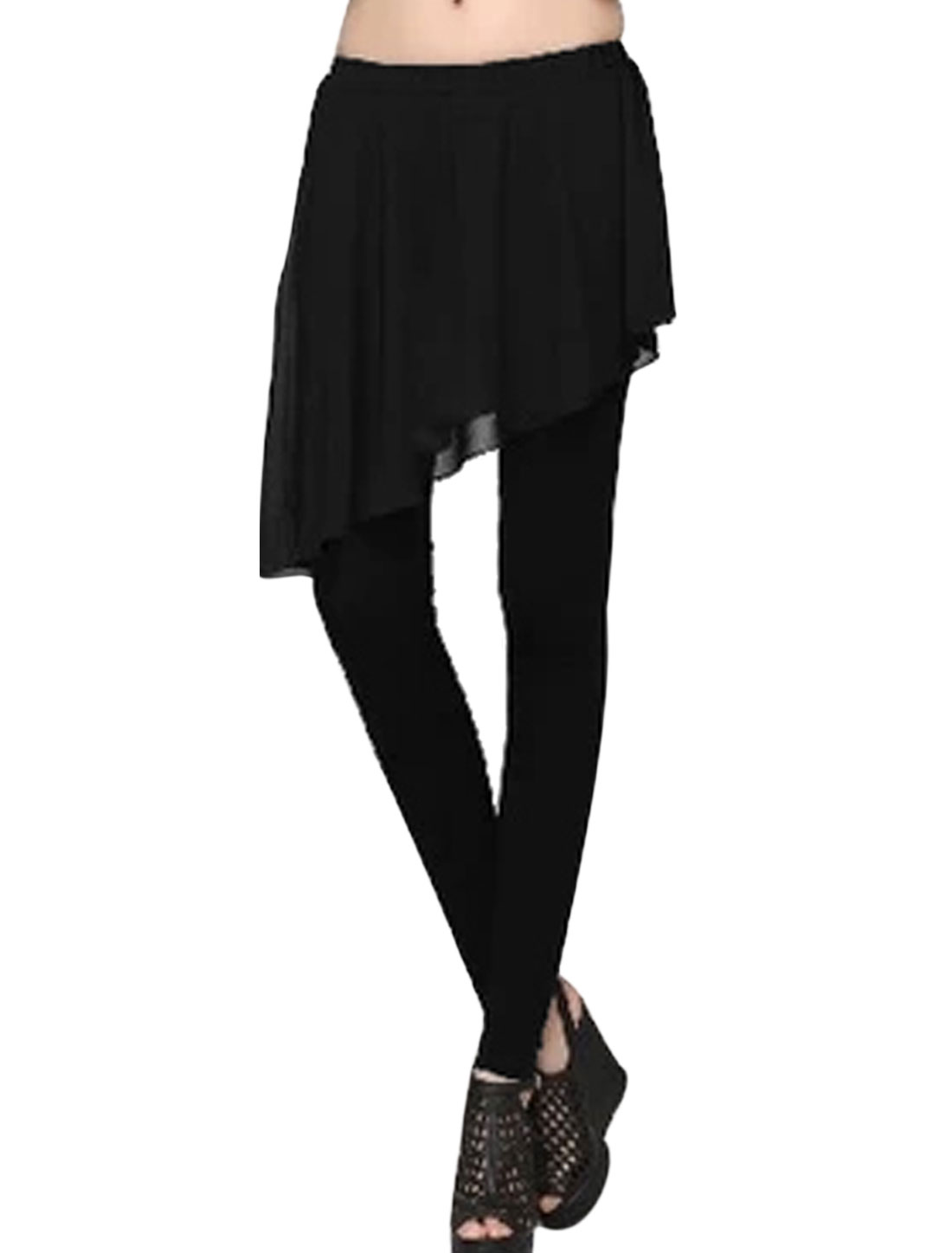 Lady Elastic Waist Chiffon Panel Irregular Hem Skirt Leggings Black XS