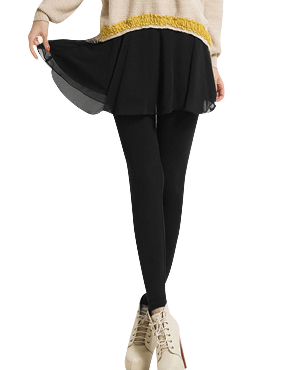Lady Elastic Waist Chiffon Panel Skirt Leggings Black XS