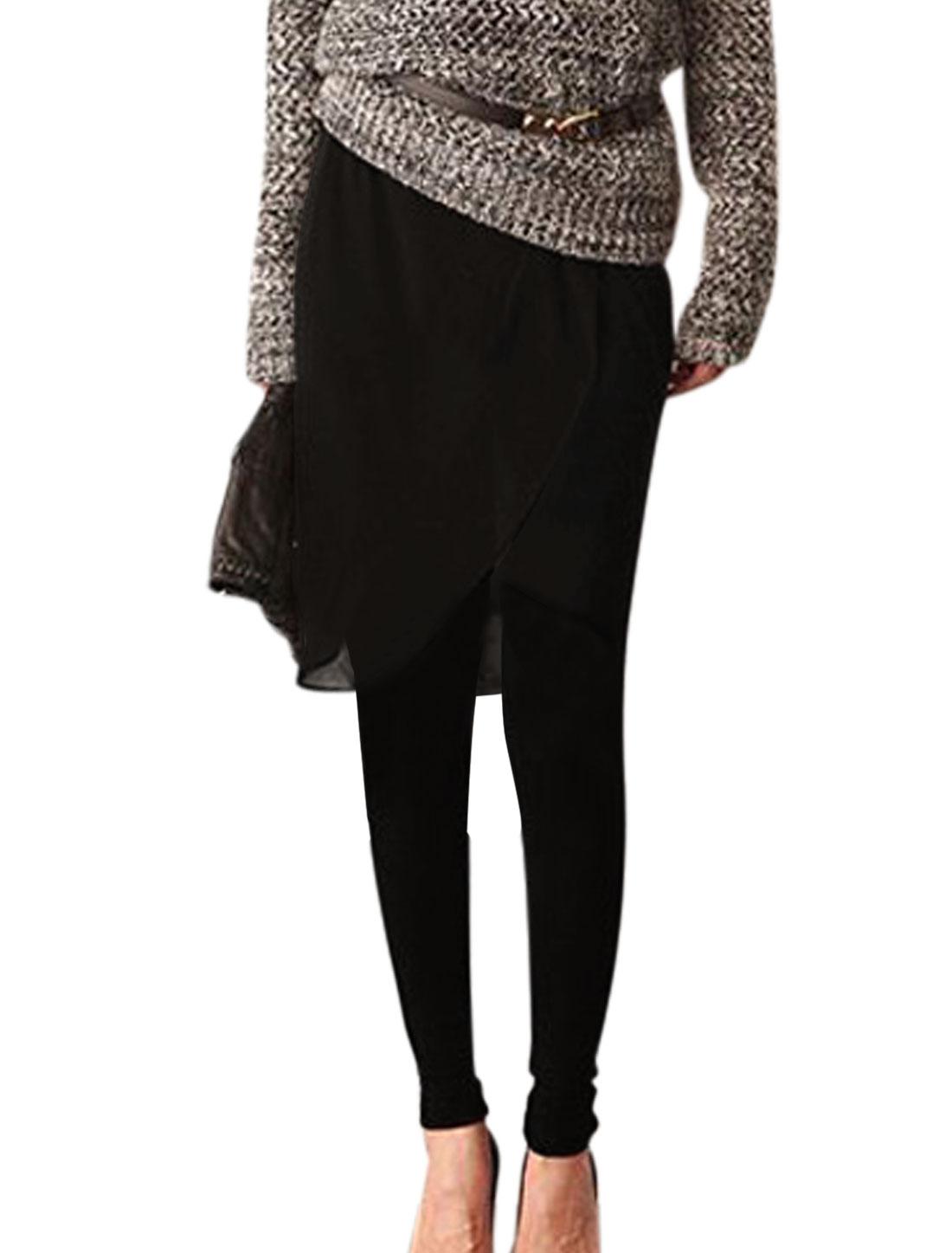 Lady Elastic Waist Split-Chiffon Panel Slim Fit Skirt Leggings Black XS