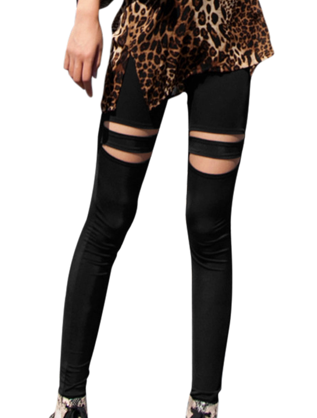 Lady Casual Elastic Waist Destroyed Design Cropped Leggings Black XS