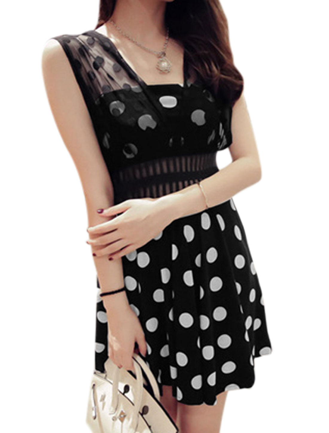Lady Sweetheart Neckline Dots Prints Mesh-Patched Strap Unlined Dress Black XS