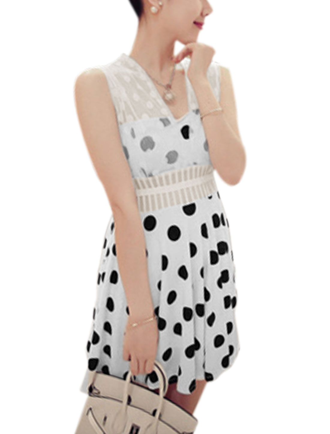 Lady Dots Prints Mesh-Patched Strap Unlined Dress White XS