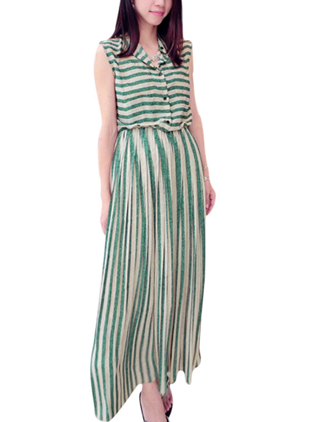 Ladies Trendy Horizontal Stripes Buttons Closed Unlined Chiffon Dress Green Khaki M