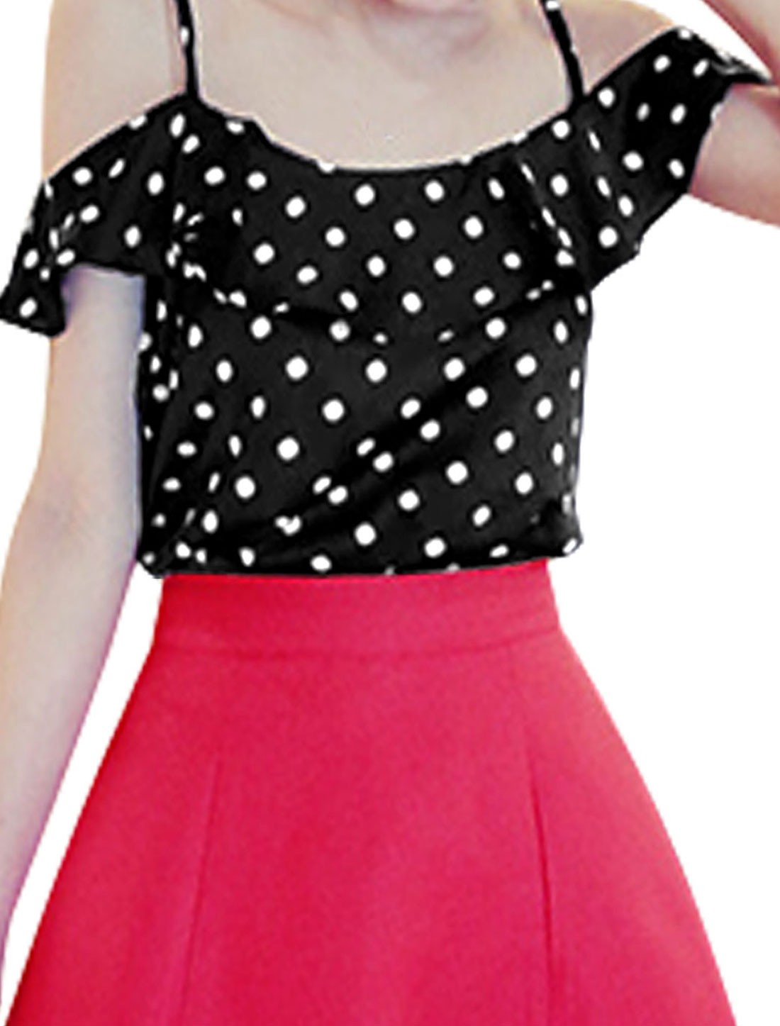 Lady Spaghetti Strap Dots Prints Flouncing Top Black M