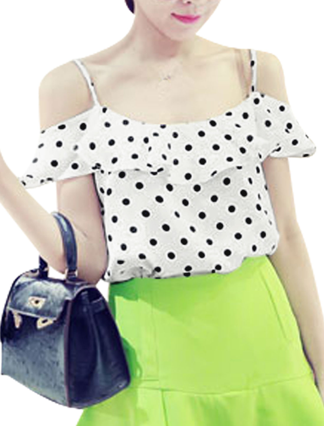 Lady Spaghetti Strap Dots Prints Pullover Top White M