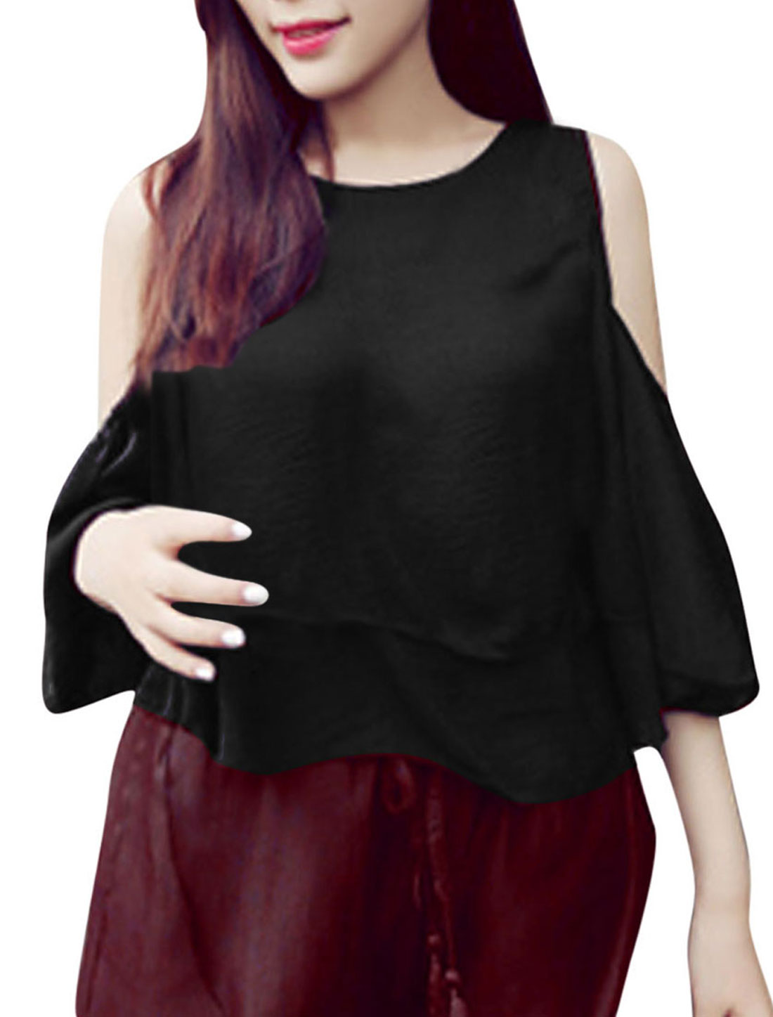 Lady Cut Out Shoulder Lantern Sleeve Tiered Design Top Black XS