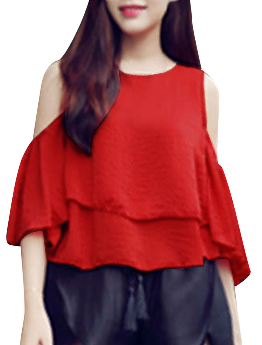 Lady Cut Out Shoulder Lantern Sleeve Tiered Design Elegant Top Red XS