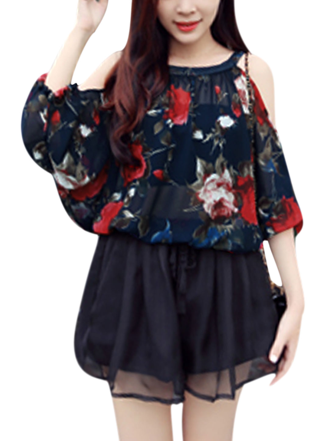 Lady Cut Out Shoulder Floral Prints Semi Sheer Chiffon Blouse Navy Blue S