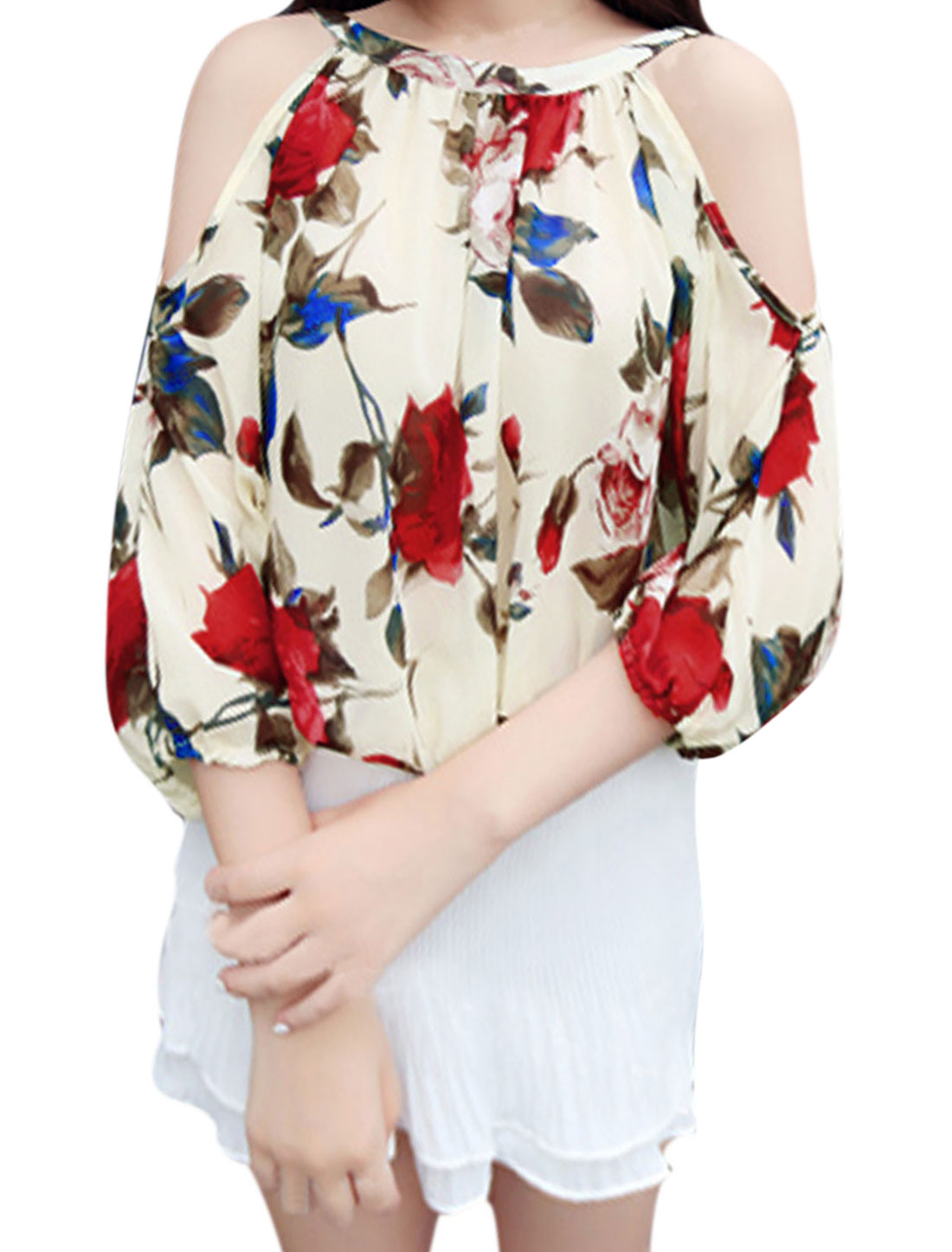 Lady Cut Out Shoulder Floral Prints Keyhole Back Chiffon Blouse Beige S