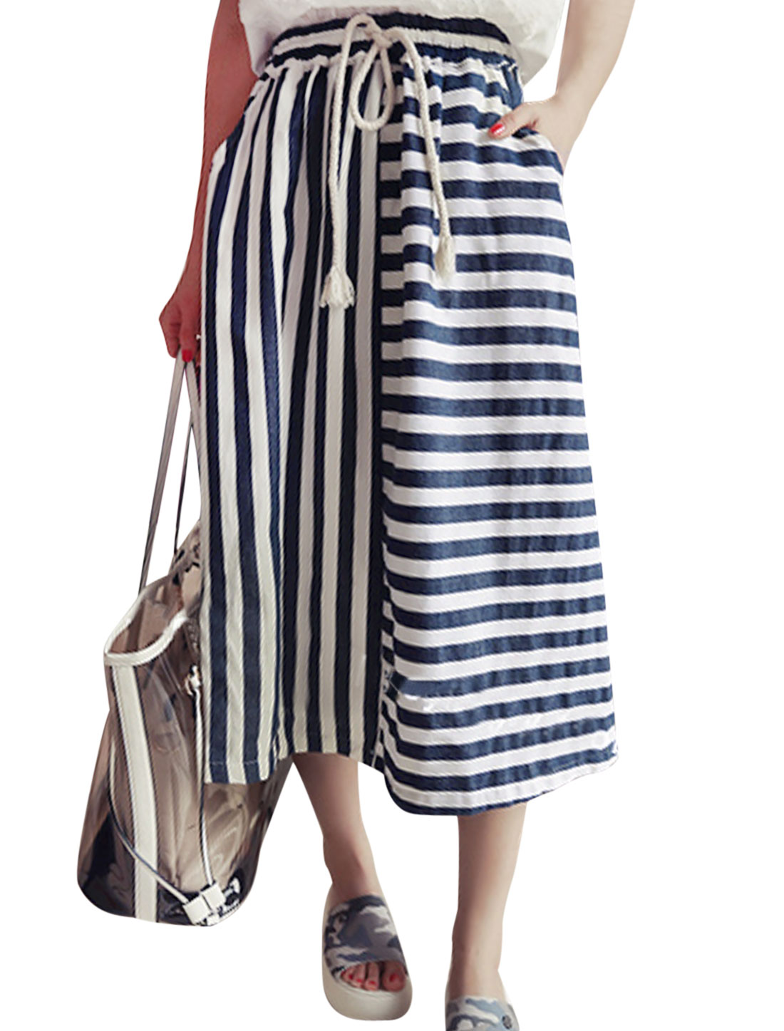 Lady Drawstring Waist Stripes Panel Design Full Skirt White Navy Blue XS
