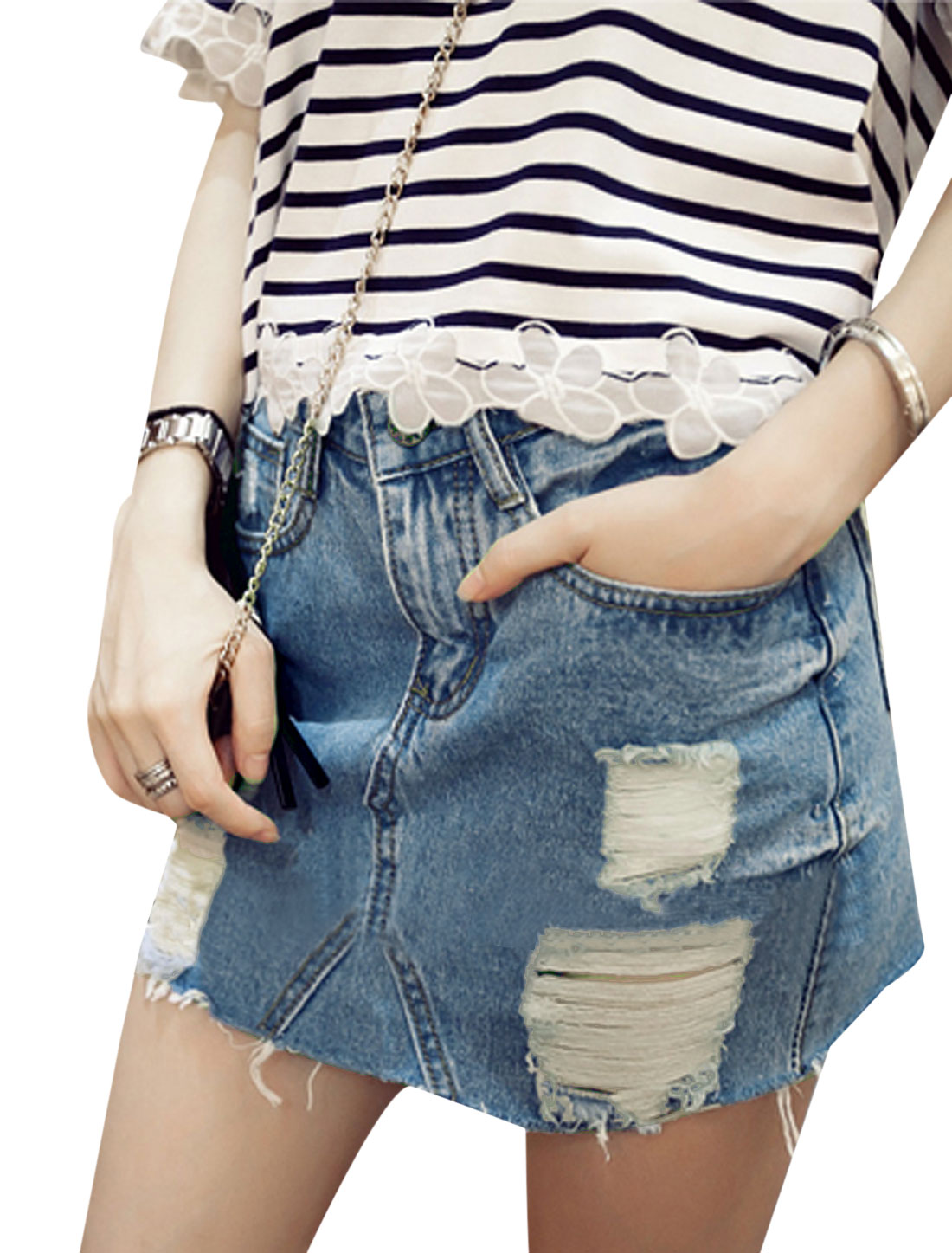 Women Fashion Zipper Fly Destroyed Design Faded Denim Mini Skirt Blue S