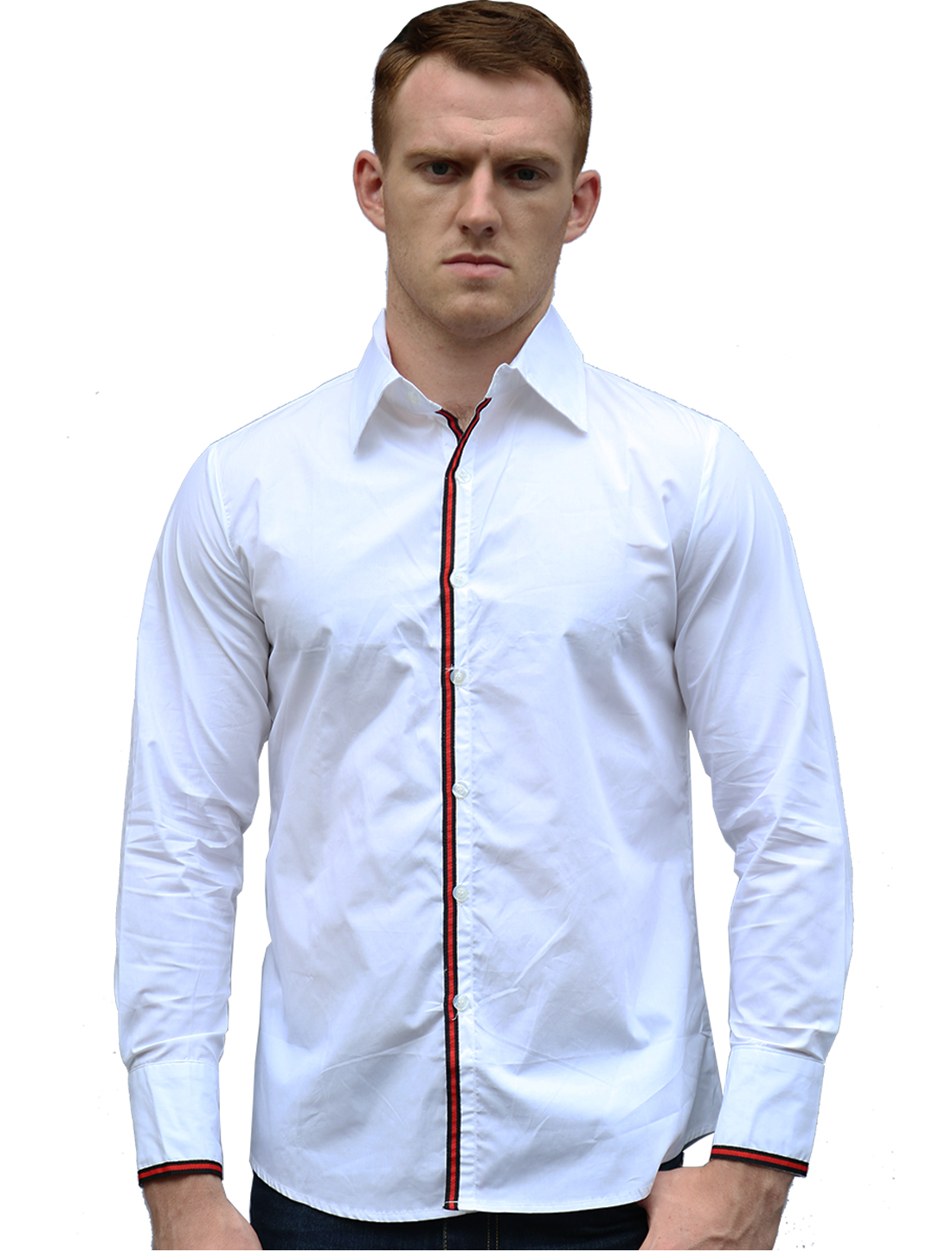 Men Buttoned Cuffs Stripes Lined Detail Slim Fit Shirt White S