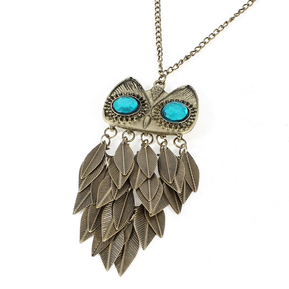 Women Metal Owl Pendant Clothing Sweater Chain Necklace Bronze Tone 62cm Girth