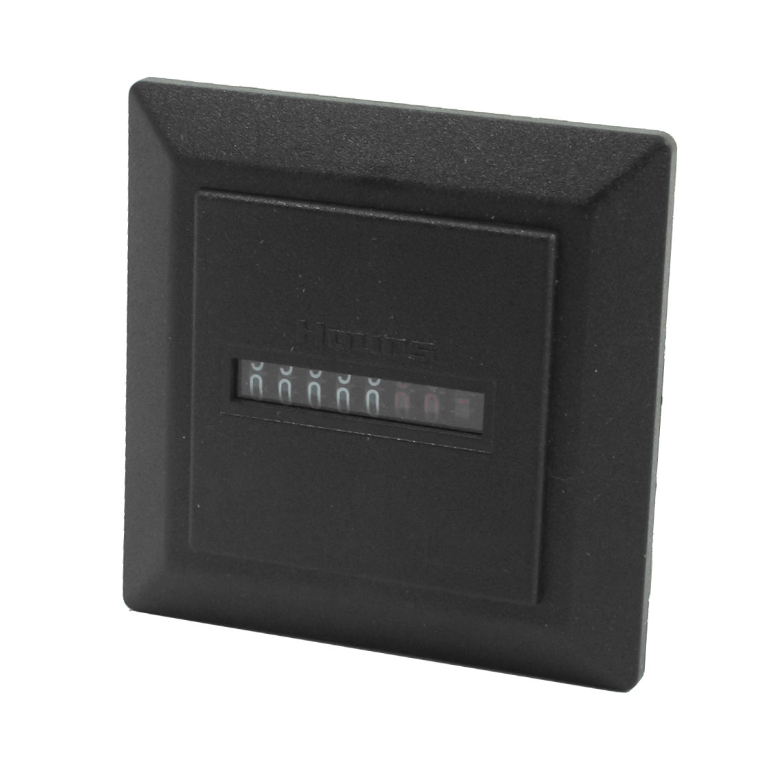 AC110V 2 Screw Terminal Black Plastic Square Panel 0-99.99999h 7-Digit Industrial Counter Hour Timer