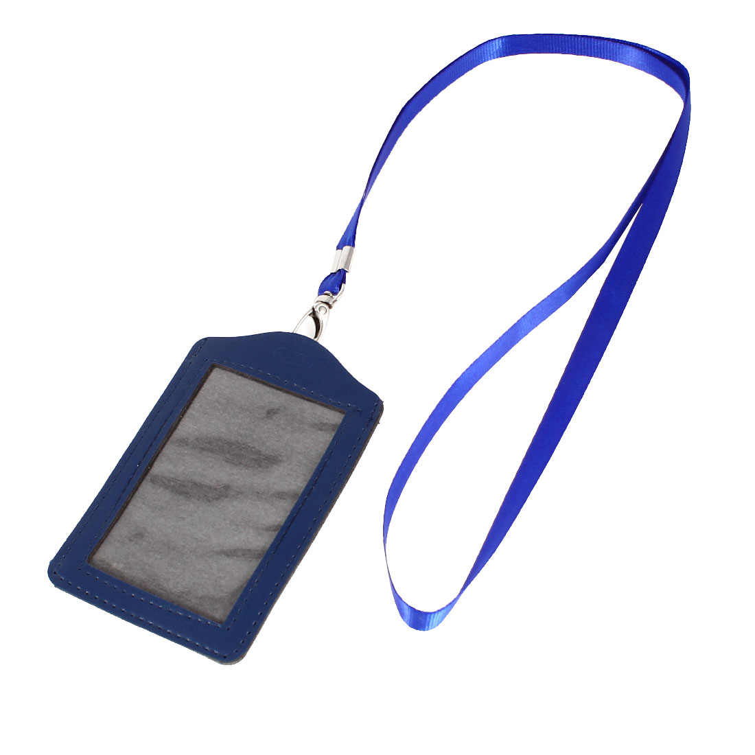 Royal Blue Clear Faux Leather Business ID Card Holder w Neck Strap