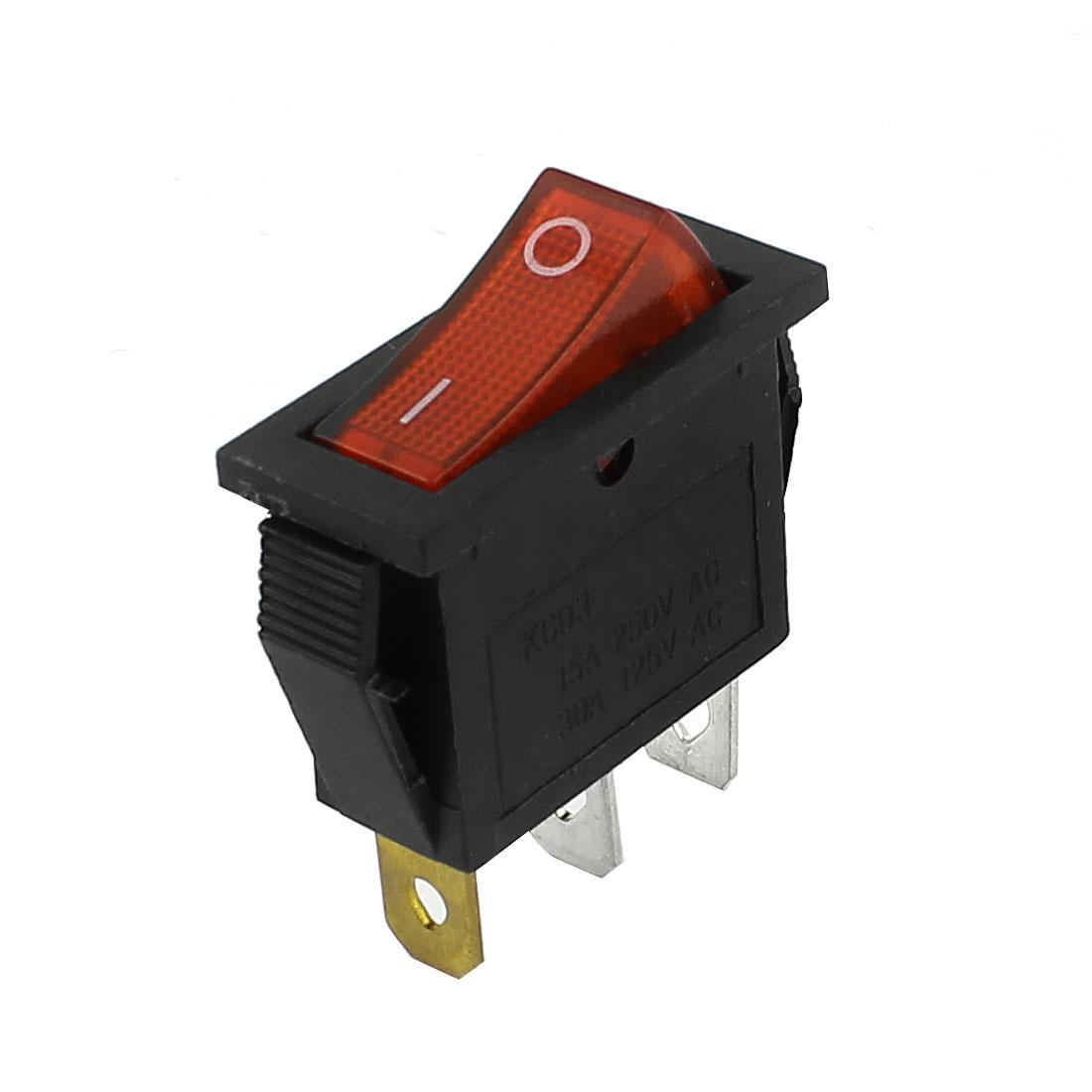 Red Light ON-OFF I/O SPST Snap in Rocker Switch 3 Pin AC 250V 15A 125V 30A