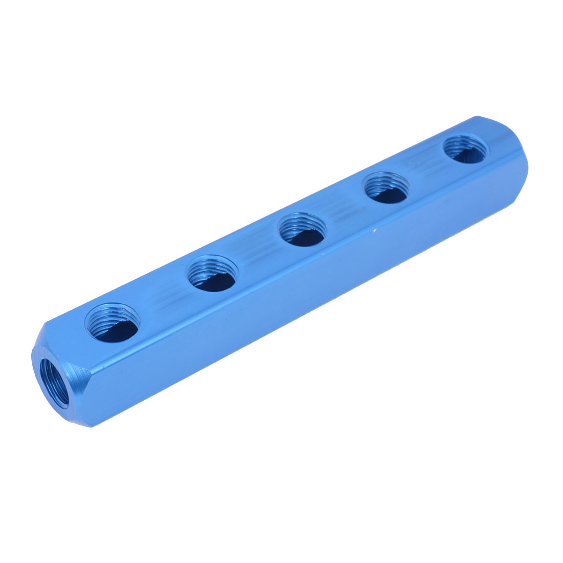 Pneumatic Cylinder 5 Way 8 Ports Aluminum Air Manifold Block Splitter Blue