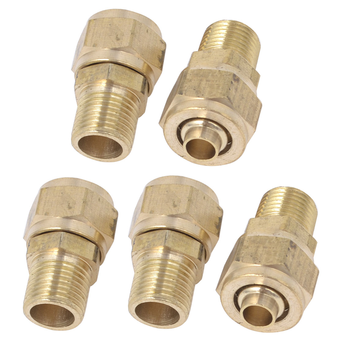 5 Pcs Metal Air Pneumatic Quick Socket Coupler Gold Tone for 8mm x 5mm Hose
