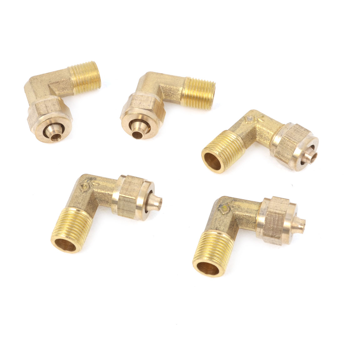 5 Pcs Brass 1/8PT Thread Pneumatic Pipe Hose Brass Quick Coupler Connector