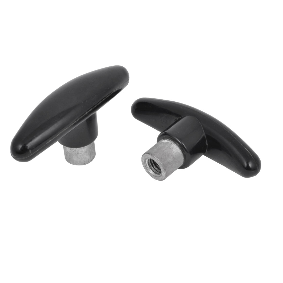 2 Pcs Black T Shaped M10 x 15mm Threaded Handle Lever Replacement