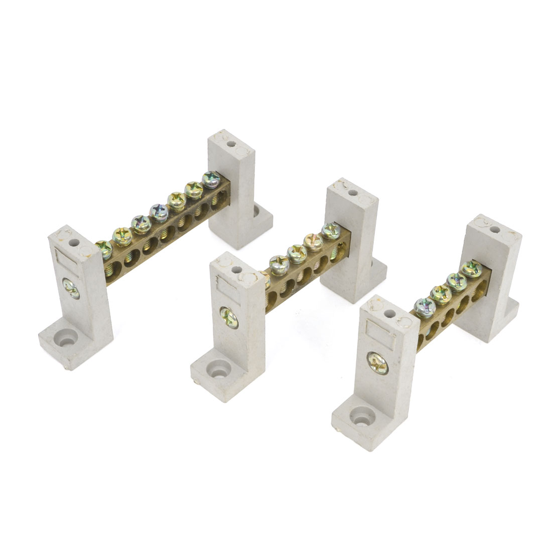 Screws Installation 5 Hole Copper Tone Terminals Connecting Block Gray 3 Pcs