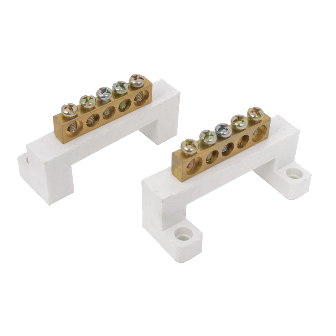 Screws Installation 5 Hole Copper Tone Wire Cord Terminals Block White 2 Pcs