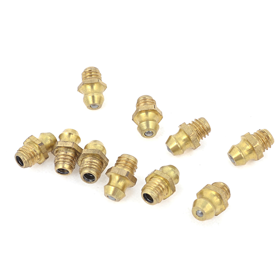 10 Pcs Gold Tone 6mm Dia Male Thread Straight Grease Nipples Fittings