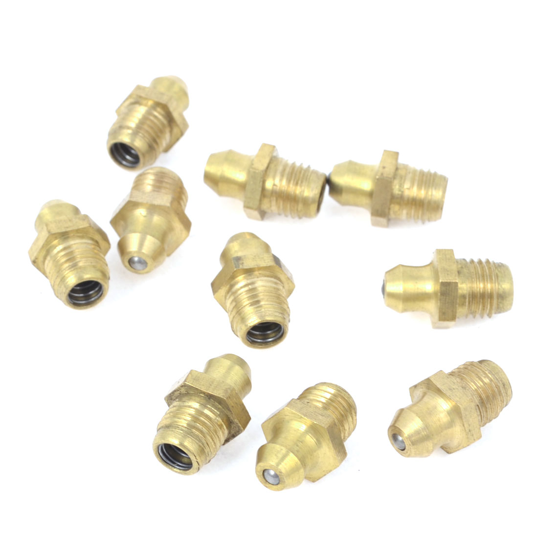 10 Pcs Gold Tone 8mm Dia Male Thread Straight Grease Nipples Fittings