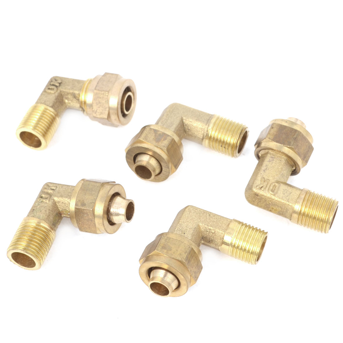 5 Pcs Brass 8mm x 6mm Hose Pneumatic Pipe Brass Quick Coupler Adaptor